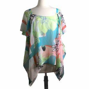 V Cristina Floral Flutter Sleeve Top, Medium